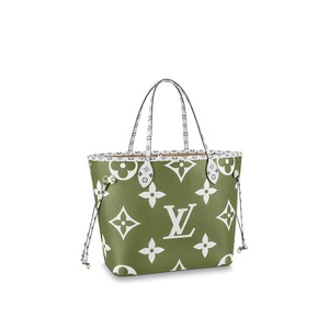 Louis Vuitton Neverfull Mm Monogram France Neverfull Tote in Khaki Green and Beige