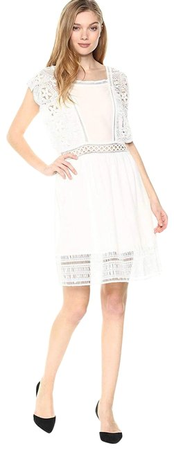 Item - White Sleeveless Lace Hemmed Short Casual Dress Size 0 (XS)