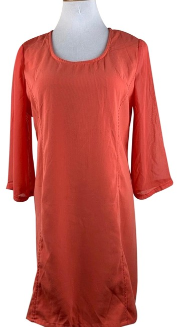 Item - Orange Crepe with Sheer Bell Sleeves Short Casual Dress Size 8 (M)