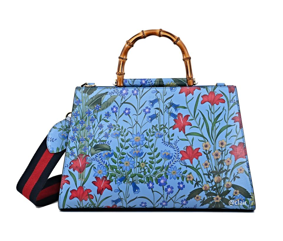 91b0e27a9 Gucci Top Handle Bag Nymphaea Large Floral Blue Multi Leather ...