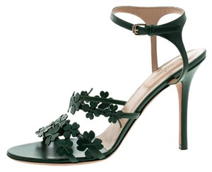 Valentino Leather Applique Ankle Strap Green Sandals