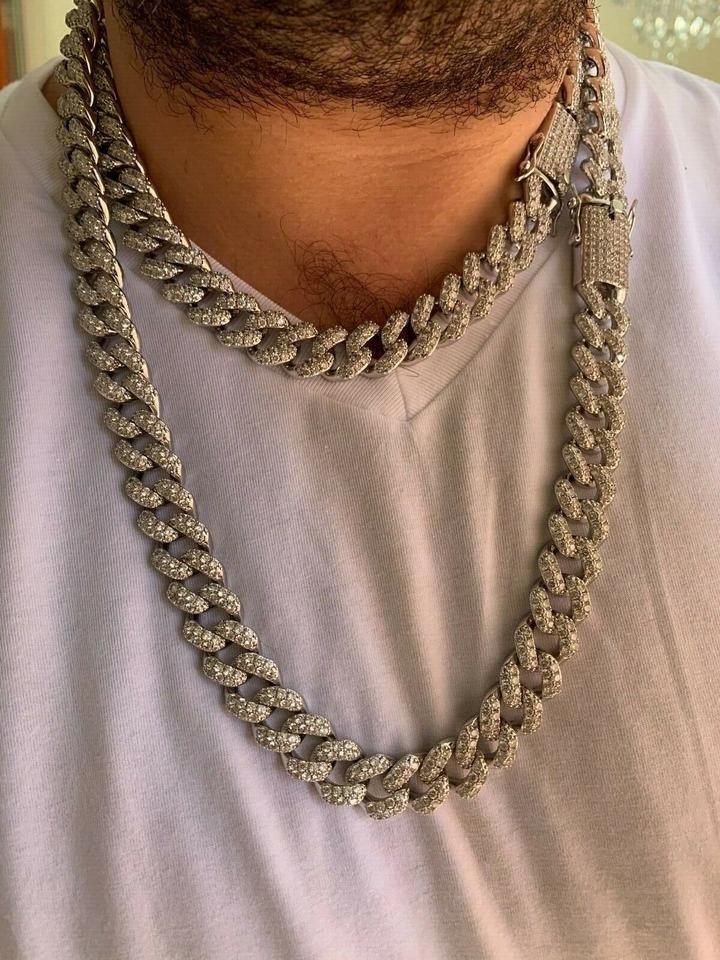 Silver Men S Miami Cuban Link Chain Real White Gold Over Stainless 15mm Necklace