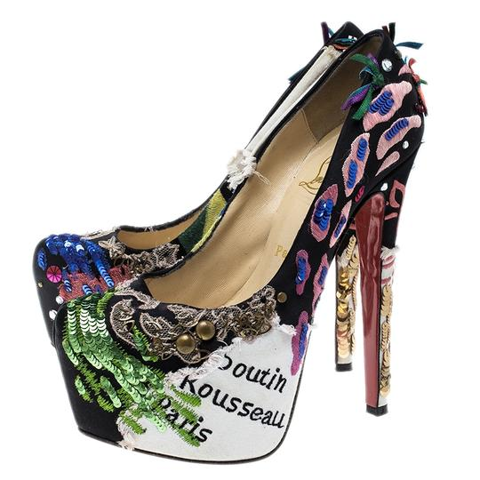 Christian Louboutin Leather Satin Limited Edition Multicolor Pumps Image 5