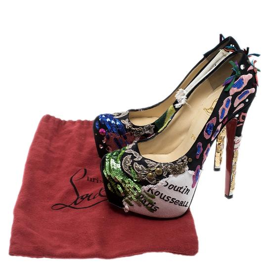 Christian Louboutin Leather Satin Limited Edition Multicolor Pumps Image 7