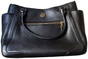 Tory Burch Leather Tote Satchel in Black
