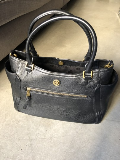Tory Burch Leather Tote Satchel in Black Image 1