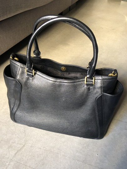 Tory Burch Leather Tote Satchel in Black Image 2