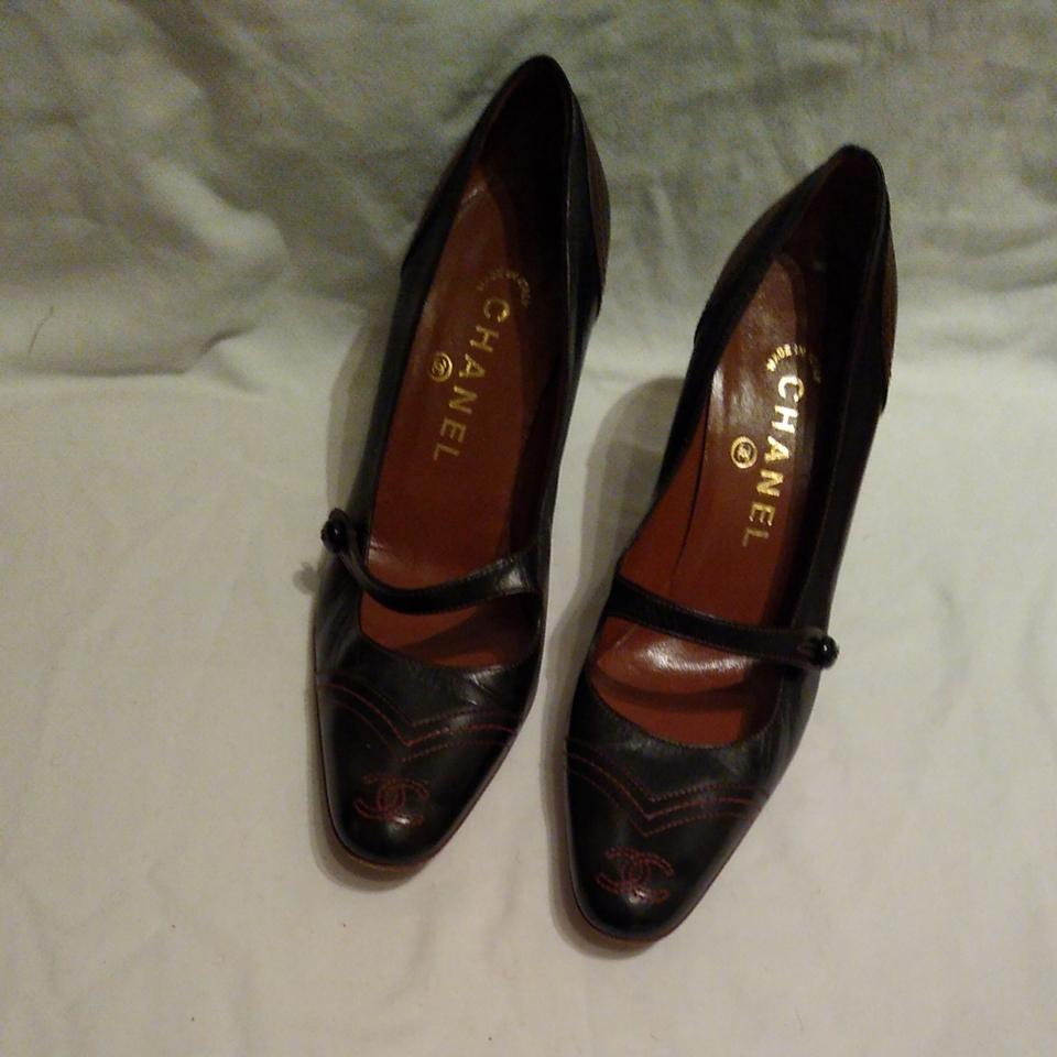 84115fbefa Chanel Black with Red Stitching Stitched Leather Mary-jane Pumps. Size: EU  36 (Approx. US 6) ...