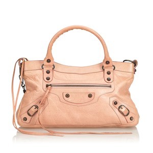 Balenciaga 9ebgst004 Vintage Leather Satchel in Pink