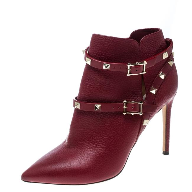 Item - Red Leather Rockstud Pointed Toe Ankle Boots/Booties Size EU 37.5 (Approx. US 7.5) Regular (M, B)