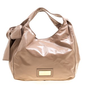 Valentino Patent Leather Nuage Tote in Beige