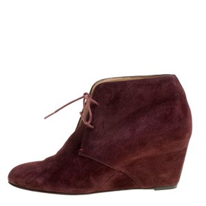 Christian Louboutin Suede Leather Wedge Lace Burgundy Boots