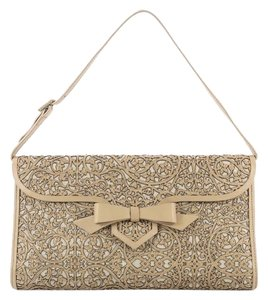 Christian Louboutin Leather Canvas Beige Clutch
