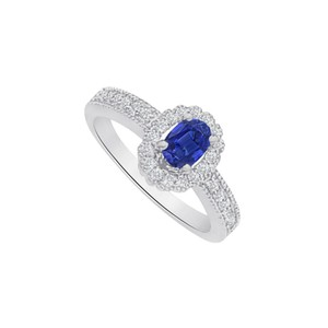 Marco B Sapphire and CZ Halo Engagement Ring in 14K White Gold