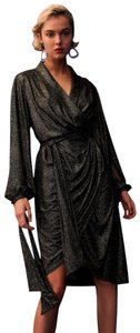 C/meo Collective Metallic Sparkle Midi Wrap Dress