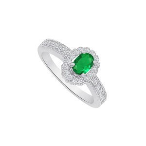 Marco B Emerald and CZ Halo Engagement Ring in 14K White Gold