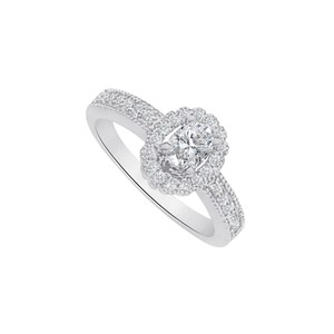 Marco B Cubic Zirconia Halo Engagement Ring in 14K White Gold