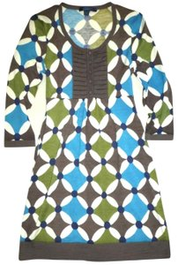 Boden short dress Blue Green Kaleidoscope Wool 3/4 Sleeve Tunic Sweater on Tradesy
