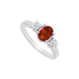 Marco B Oval Garnet and CZ Three Stones Ring in 14K White Gold