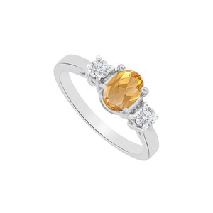 Marco B Three Stones Citrine and CZ Ring in 14K White Gold