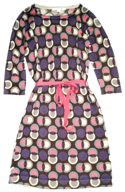 Boden Pink Purple 3/4 Sleeve Circle Print Wool Tunic Belted Sweater Short Casual Dress Size 4 (S) Boden Pink Purple 3/4 Sleeve Circle Print Wool Tunic Belted Sweater Short Casual Dress Size 4 (S) Image 1