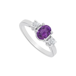 Marco B Three Stones Amethyst and CZ Ring in 14K White Gold