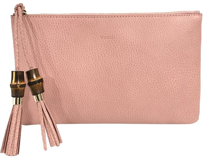 Item - New 449652 Bamboo Detail Pink Leather Clutch