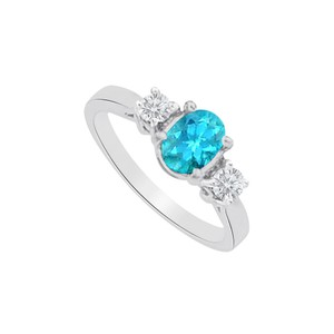Marco B Three Stones Blue Topaz and CZ Ring in 14K White Gold