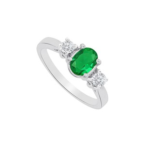 Marco B Emerald and CZs Three Stones Ring in 14K White Gold