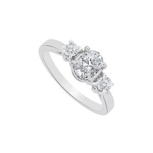 Marco B Cubic Zirconia Three Stones Ring in 14K White Gold