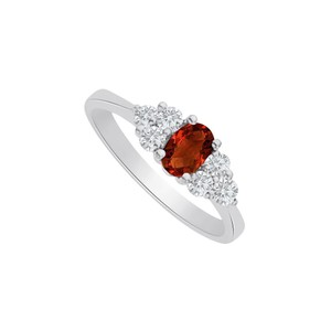 Marco B Garnet and CZ Seven Stones Ring in 14K White Gold