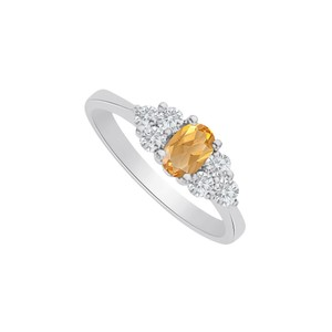 Marco B Citrine and CZ Seven Stones Ring in 14K White Gold