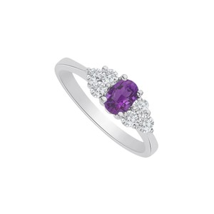 Marco B Amethyst and CZ Seven Stones Ring in 14K White Gold