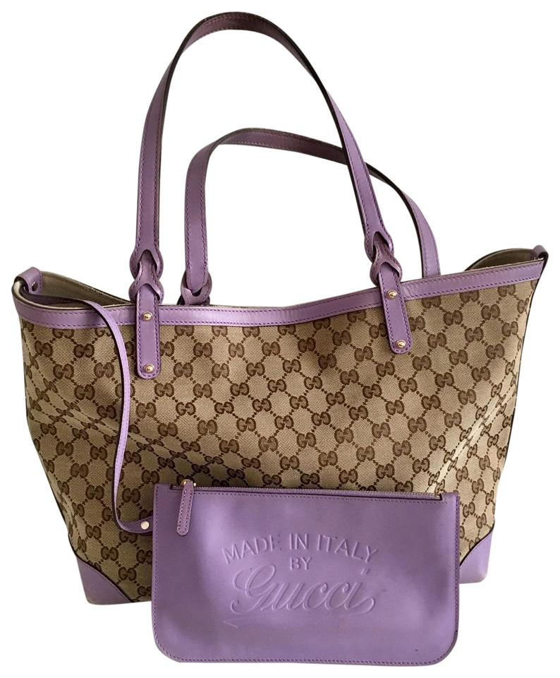 3b2db7a61 Gucci Monogram with Purple Leather Brown Canvas Tote - Tradesy