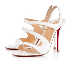 Christian Louboutin So Kate Nude Patent Patent Leather White Sandals