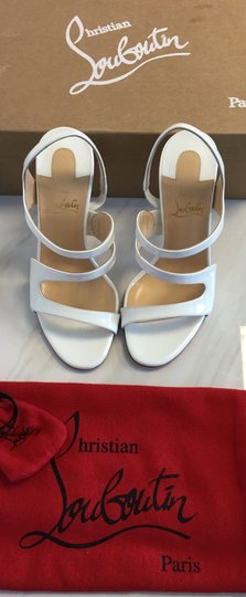 Christian Louboutin So Kate Nude Patent Patent Leather White Sandals Image 1