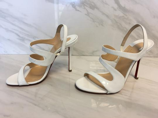 Christian Louboutin So Kate Nude Patent Patent Leather White Sandals Image 2