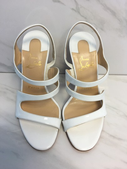 Christian Louboutin So Kate Nude Patent Patent Leather White Sandals Image 3