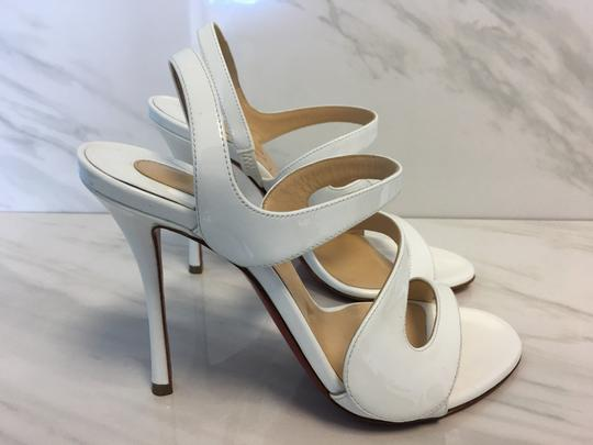 Christian Louboutin So Kate Nude Patent Patent Leather White Sandals Image 6