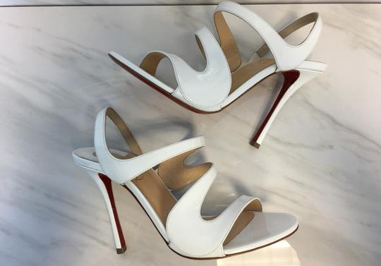 Christian Louboutin So Kate Nude Patent Patent Leather White Sandals Image 7