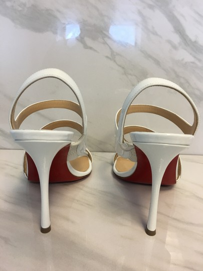 Christian Louboutin So Kate Nude Patent Patent Leather White Sandals Image 8