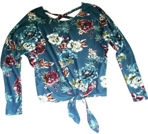 IZ Byer California Floral Bat Sleeve Knit Sweater