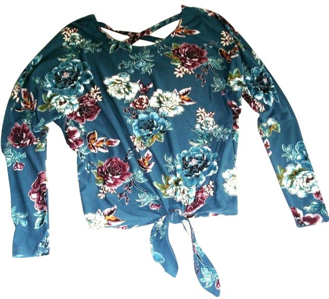 Preload https://img-static.tradesy.com/item/25500149/iz-byer-california-plum-floral-bat-sleeve-tie-waist-knit-s-teal-sweater-0-3-650-650.jpg