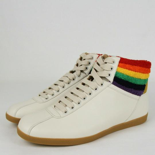 Gucci Cream Men's Leather Rainbow Hi-top Sneaker 7.5g/Us 8.5 473375 9080 Shoes Image 1
