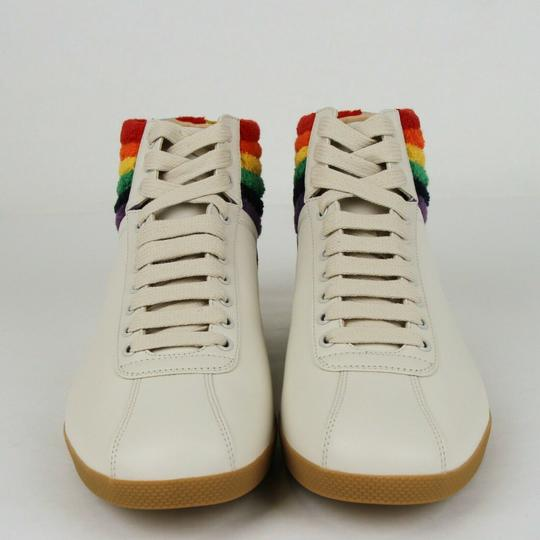 Gucci Cream Men's Leather Rainbow Hi-top Sneaker 7.5g/Us 8.5 473375 9080 Shoes Image 2