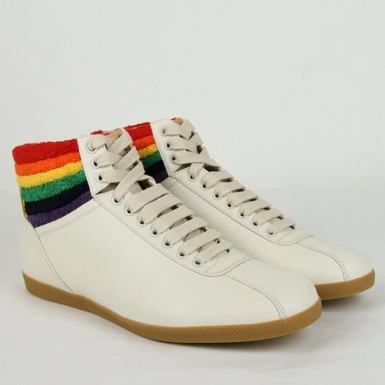 Gucci Cream Men's Leather Rainbow Hi-top Sneaker 7.5g/Us 8.5 473375 9080 Shoes Image 3