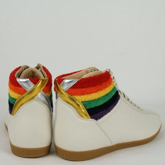 Gucci Cream Men's Leather Rainbow Hi-top Sneaker 7.5g/Us 8.5 473375 9080 Shoes Image 4