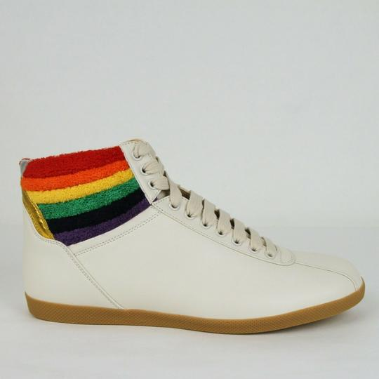 Gucci Cream Men's Leather Rainbow Hi-top Sneaker 12.5g/Us 13.5 473375 9080 Shoes Image 5