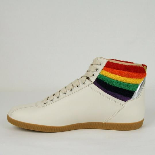 Gucci Cream Men's Leather Rainbow Hi-top Sneaker 12.5g/Us 13.5 473375 9080 Shoes Image 6