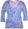 ORVIS Paisley Floral Cotton 3/4 Sleeve V-neck Sweater Image 0